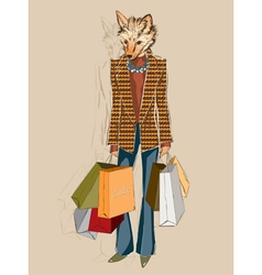 Fashion fox carrying shopping bags vector
