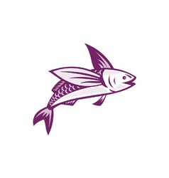 Flying fish retro vector