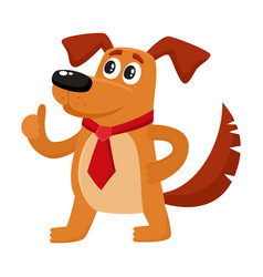 Funny dog character in red tie showing thumb up vector