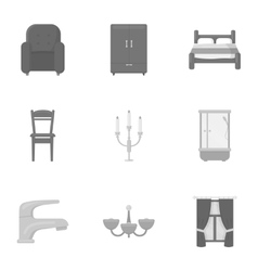 Furniture set icons in monochrome style Big vector image vector image