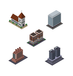 Isometric construction set of office industry vector