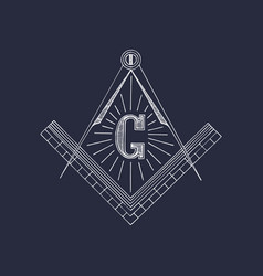 Masonic square and compass symbols hand drawn vector