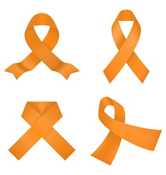 Orange awareness ribbons vector image vector image