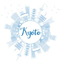 Outline Kyoto Skyline with Blue Landmarks vector image vector image