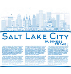 Outline salt lake city skyline with blue vector