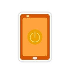 Paper sticker on white background turn off mobile vector