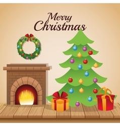 Pine tree and gifts of christmas season design vector