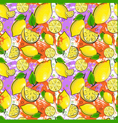 Seamless pattern lemon fruits summer ornament vector