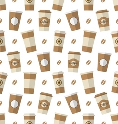 Seamless Pattern with Disposable Coffee Cups vector image