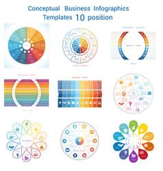 set infographics conceptual cyclic processes ten vector image