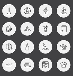 Set of 16 editable hygiene outline icons includes vector
