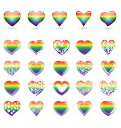 set of rainbow hearts vector image