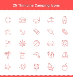 Set of thin line stroke beach icons vector
