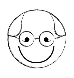 Sketch draw round glasses man face cartoon vector