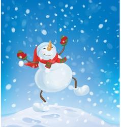 snowman happy snowfall vector image vector image