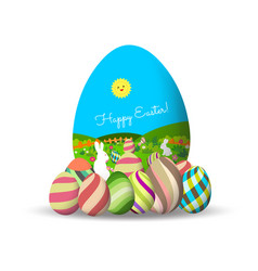 Spring easter background with egg and bunny vector