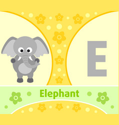 The english alphabet with elephant vector