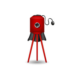 Vintage camera in red design with shadow vector