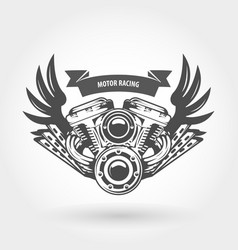 Winged motorcycle engine emblem - chopper bike vector