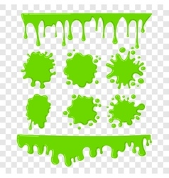 Green slime set on checkered transparent vector
