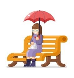 Girl sit bench umbrella autumn flat design vector image