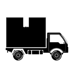 Black silhouette transport truck with vagon vector