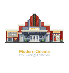 Modern cinema building exterior vector