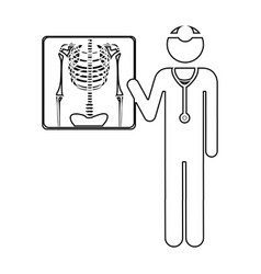silhouette pictogram doctor and radiography vector image