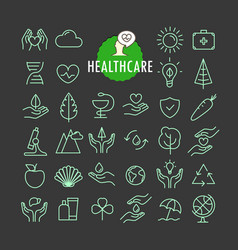 Different healthcare icons collection web and vector