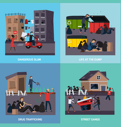 Ghetto slum icon set vector