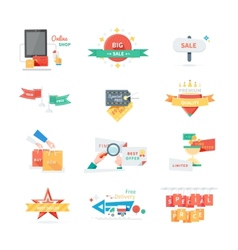 Stickers labels tags set vector