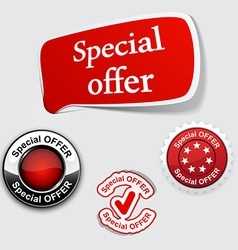 Red set of special offer labels vector