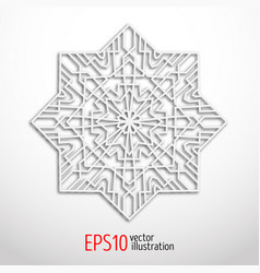3d white geometric snowflake vector image vector image