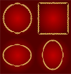 Gold frames circle oval and square vector