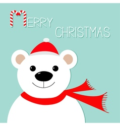 White polar bear in santa claus hat and scarf vector