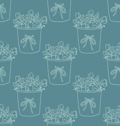 Cute hand drawn houseplant in pot Seamless vector image