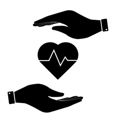 Heartbeat in hand icon vector