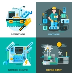 Electricity concept icons set vector