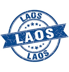 Laos blue round grunge vintage ribbon stamp vector