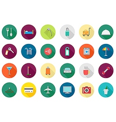 Hotel service round icons set vector
