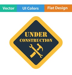 Flat design icon of under construction vector