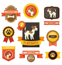 Badges labels ribbons with cute dogs icons and vector