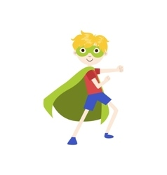 Boy in superhero costume with green cape vector