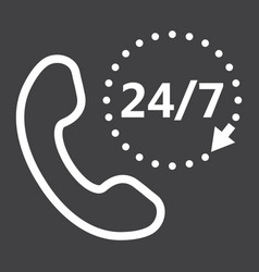 Call 24 7 line icon support service and website vector