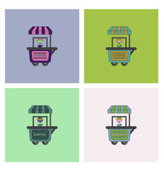 Coffee shop cart set vector