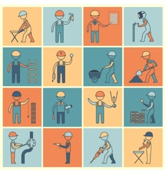 Construction worker icons flat line vector image