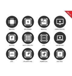 Cpu icons on white background vector image