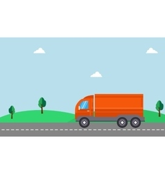 Delivery truck with landscape vector