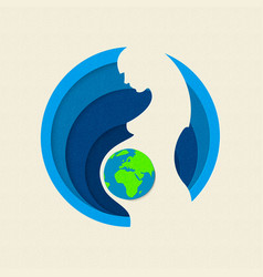 Earth day paper cut out mother nature concept vector