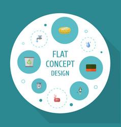 flat icons foam aqua sponge and other vector image vector image